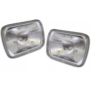 "Pair of Universal Headlights 7""x5"" Square Semi Sealed H4 Head lights Lamps"