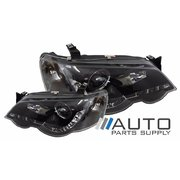 Ford BA BF1 Falcon XR6 XR8 Black LED Performance Projector Headlights 2002-2005