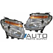 Ford PX Ranger Headlights Head Lights Lamps Chrome XLT WILDTRACK