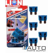 5 Piece 15 Amp Blade Type Fuse Pack *Lion Products*