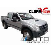 Isuzu D-Max Manual Towing Mirrors Black 2006-2012 *Clearview*