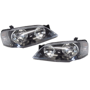 Pair of Black Headlights suit Ford BA BF Series 1 Falcon XT 2002-2006