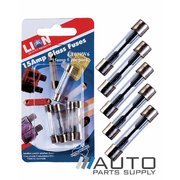 5 Piece 15 Amp Glass Fuse Pack *Lion Products*
