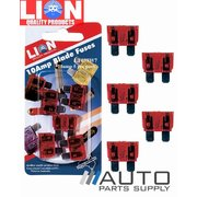 5 Piece 10 Amp Blade Type Fuse Pack *Lion Products*